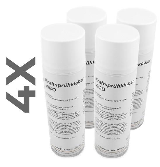 Variotex Sprühkleber 4 x 500 ml Kraftkleber Sprühklebstoff mit einstellbarer Sprühstrahldüse