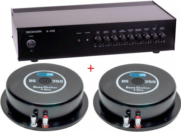 Reckhorn A-409 Subwoofer Mono Verstärker 1 x 400 W / 2 ? + 2 x Sinustec Bass-Shaker ST-BS250 4 Ohm Homehifi Higth End Kino Körperschallerzeuger Bassshaker