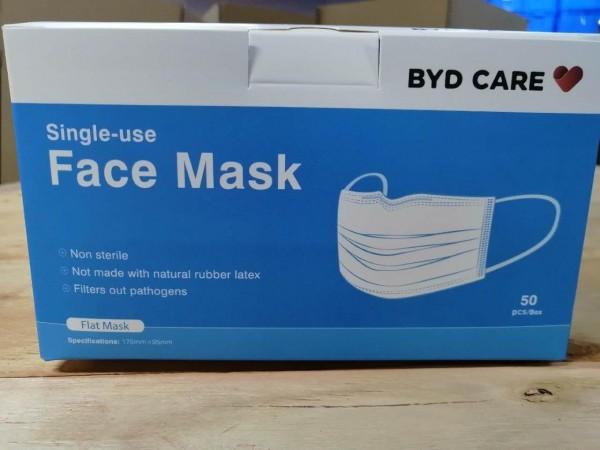 BYD Medizinische Einwegmaske (OP-Maske Typ IIR, 50er, non-steril verpackt