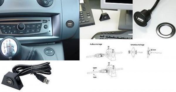 Sinustec USB-2   Anschlussbuchse mit 2 m Verlängerung USB Schnittstelle Autoradio Wohnmobil Wohnwagen
