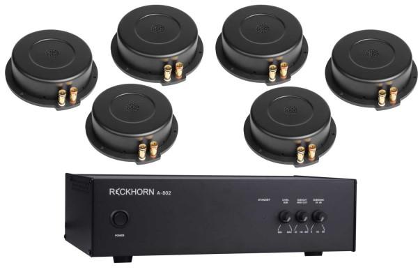 Reckhorn A-803i Subwoofer Mono Verstärker 1 x 800 W / 2 Ohm + 6 x Reckhorn BS-200i Körperschallwandler Bass Shaker