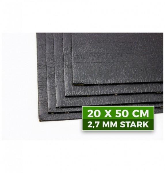 Bitumematte ADM 50 Matten Größe 20 x 50 cm und 2.7 mm dick selbstklebend
