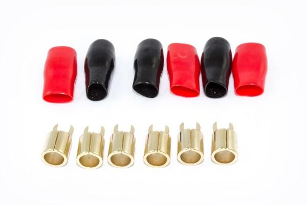 Sinuslive KSI-4 Gabelkabelschuh 24 Karat vergoldete Gabelkabelschuh mit schwarzen und roten Isoliertüllen