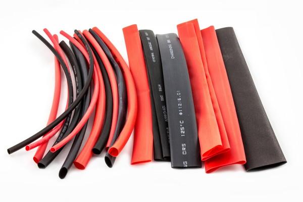 Sinuslive ISS Isolier - Schrumpfschlauch, 20 Stück sortiert Isolierschrumpfschläuche [Ø 2,5-16 mm] | 20 Stück | rot und schwarz